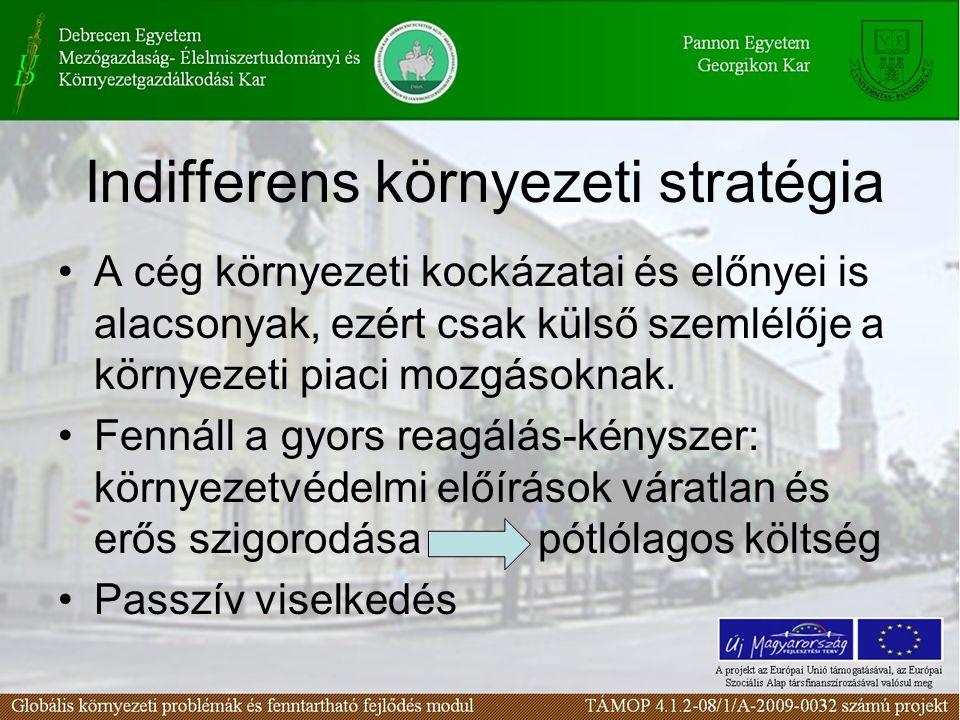 Indifferens környezeti stratégia A cég környezeti kockázatai és előnyei is alacsonyak, ezért csak külső szemlélője a környezeti piaci mozgásoknak.