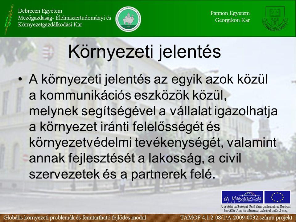 Környezeti jelentés A környezeti jelentés az egyik azok közül a kommunikációs eszközök közül, melynek segítségével a vállalat igazolhatja a környezet