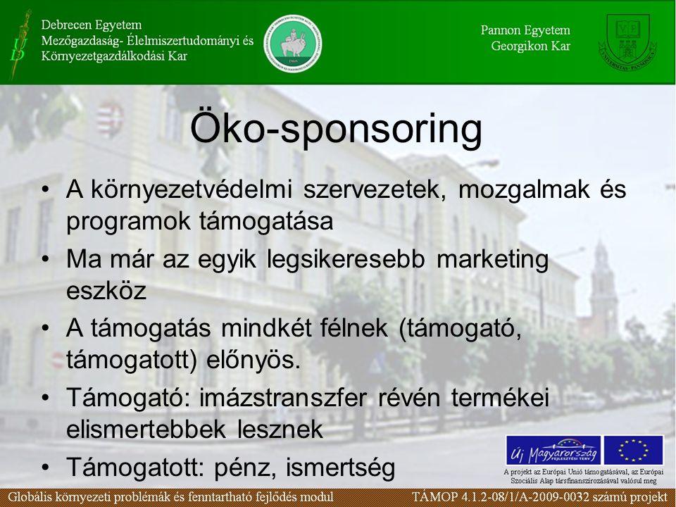 Öko-sponsoring A környezetvédelmi szervezetek, mozgalmak és programok támogatása Ma már az egyik legsikeresebb marketing eszköz A támogatás mindkét félnek (támogató, támogatott) előnyös.