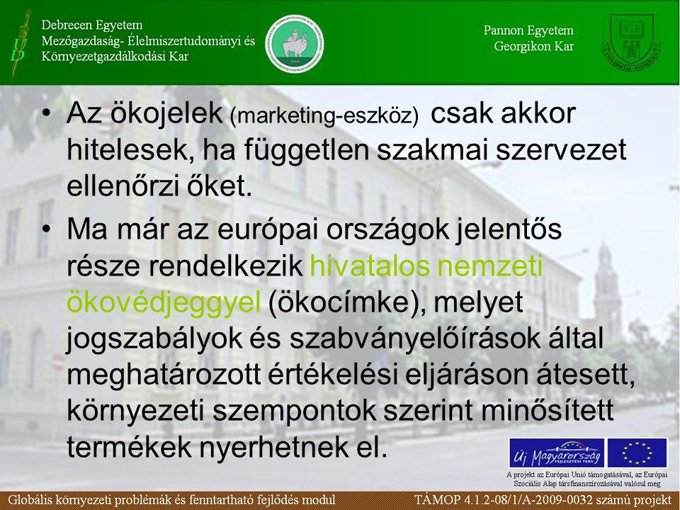 Az ökojelek (marketing-eszköz) csak akkor hitelesek, ha független szakmai szervezet ellenőrzi őket. Ma már az európai országok jelentős része rendelke