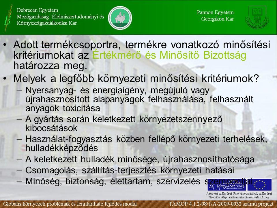 Adott termékcsoportra, termékre vonatkozó minősítési kritériumokat az Értékmérő és Minősítő Bizottság határozza meg. Melyek a legfőbb környezeti minős