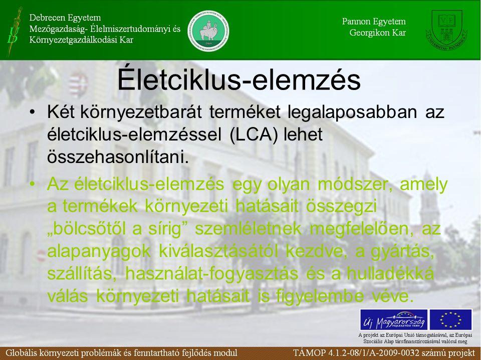 Életciklus-elemzés Két környezetbarát terméket legalaposabban az életciklus-elemzéssel (LCA) lehet összehasonlítani. Az életciklus-elemzés egy olyan m