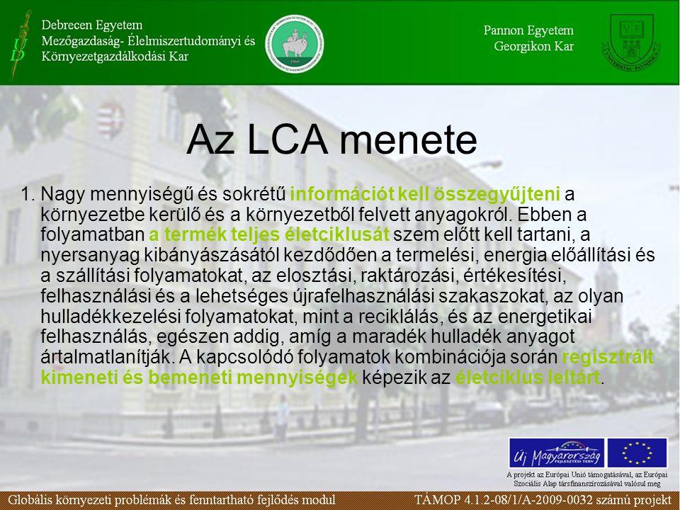 Az LCA menete 1. Nagy mennyiségű és sokrétű információt kell összegyűjteni a környezetbe kerülő és a környezetből felvett anyagokról. Ebben a folyamat