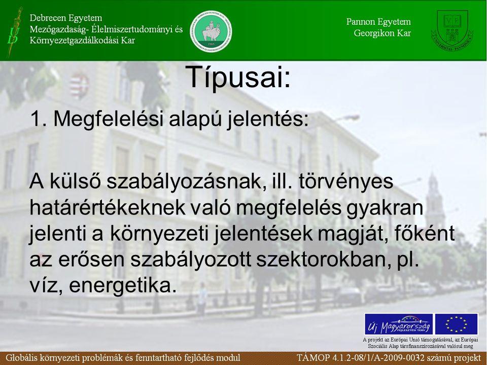 Típusai: 1. Megfelelési alapú jelentés: A külső szabályozásnak, ill. törvényes határértékeknek való megfelelés gyakran jelenti a környezeti jelentések