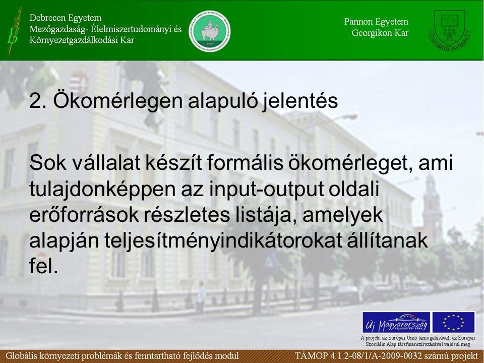 3.Teljesítmény alapú jelentés Talán a legelterjedtebb környezeti jelentés- készítési módszer.