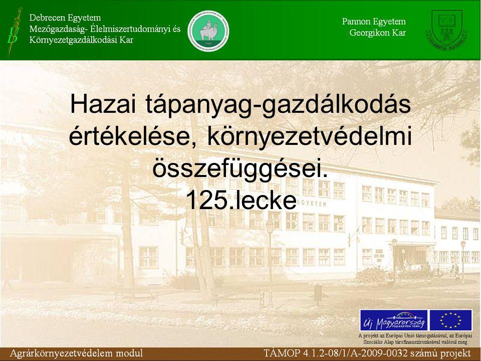 Hazai tápanyag-gazdálkodás értékelése, környezetvédelmi összefüggései. 125.lecke