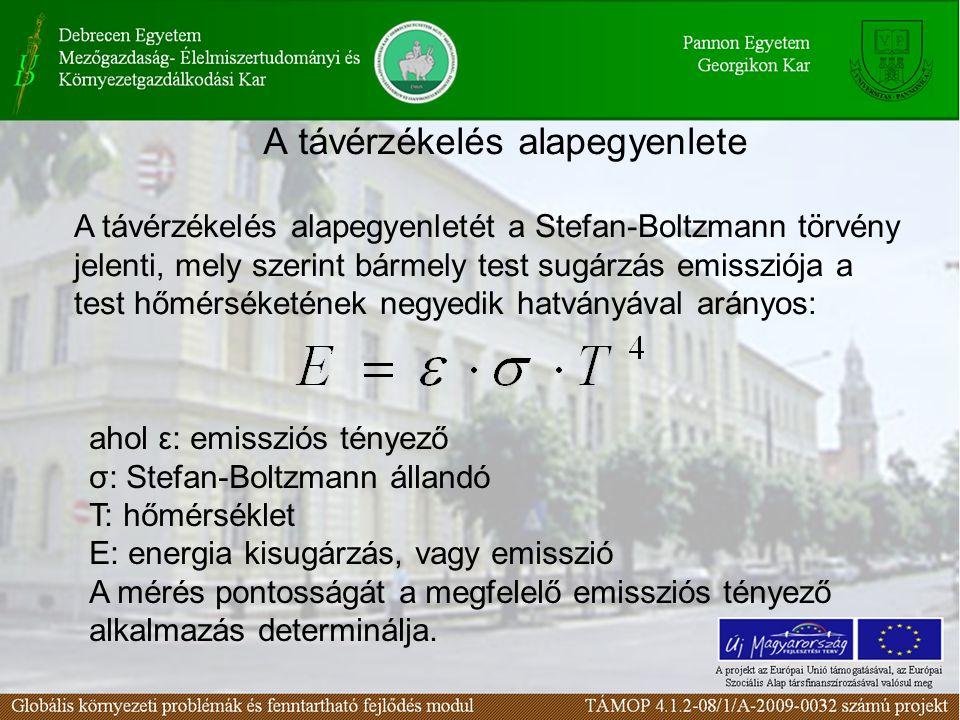 A távérzékelés alapegyenlete ahol ε: emissziós tényező σ: Stefan-Boltzmann állandó T: hőmérséklet E: energia kisugárzás, vagy emisszió A mérés pontosságát a megfelelő emissziós tényező alkalmazás determinálja.
