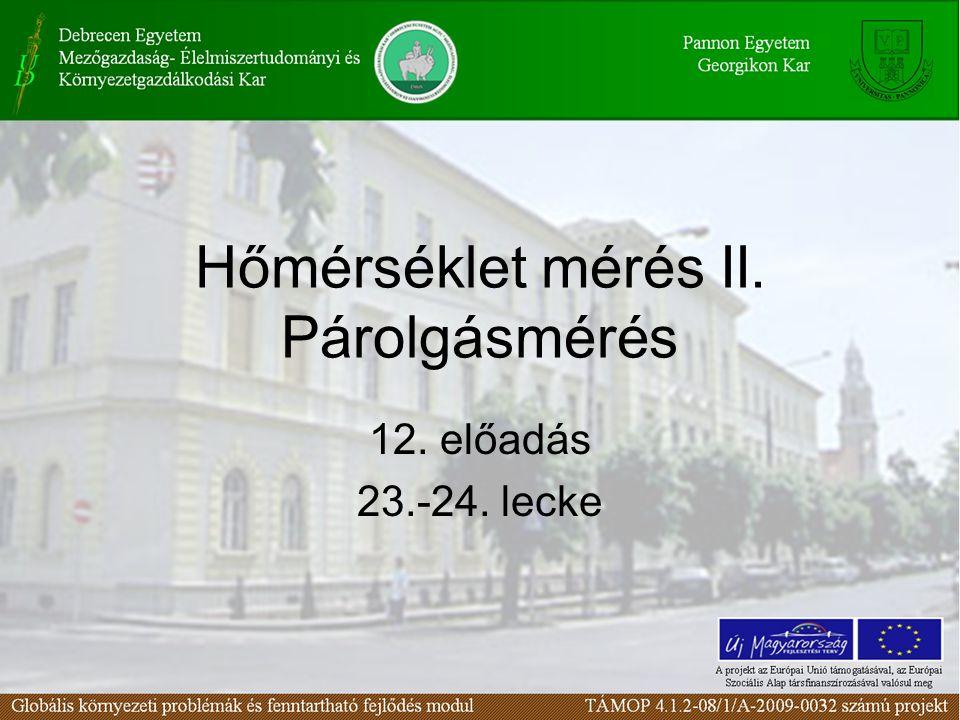 Hőmérséklet mérés II. Párolgásmérés 12. előadás 23.-24. lecke