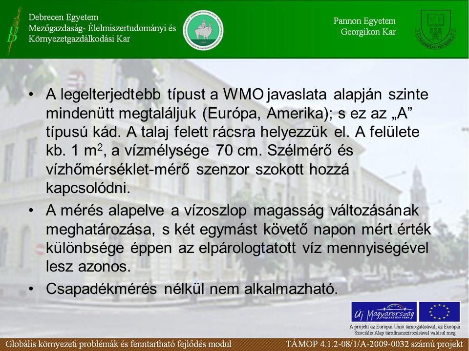 """A legelterjedtebb típust a WMO javaslata alapján szinte mindenütt megtaláljuk (Európa, Amerika); s ez az """"A típusú kád."""