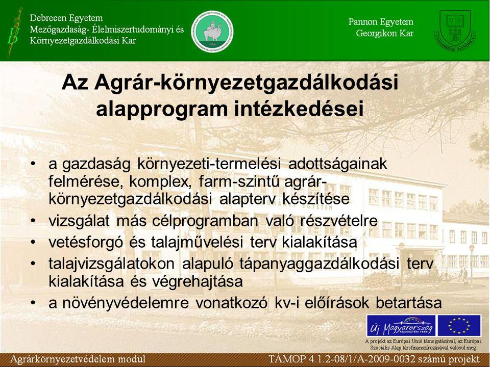 Az Agrár-környezetgazdálkodási alapprogram intézkedései a gazdaság környezeti-termelési adottságainak felmérése, komplex, farm-szintű agrár környezetgazdálkodási alapterv készítése vizsgálat más célprogramban való részvételre vetésforgó és talajművelési terv kialakítása talajvizsgálatokon alapuló tápanyaggazdálkodási terv kialakítása és végrehajtása a növényvédelemre vonatkozó kv-i előírások betartása