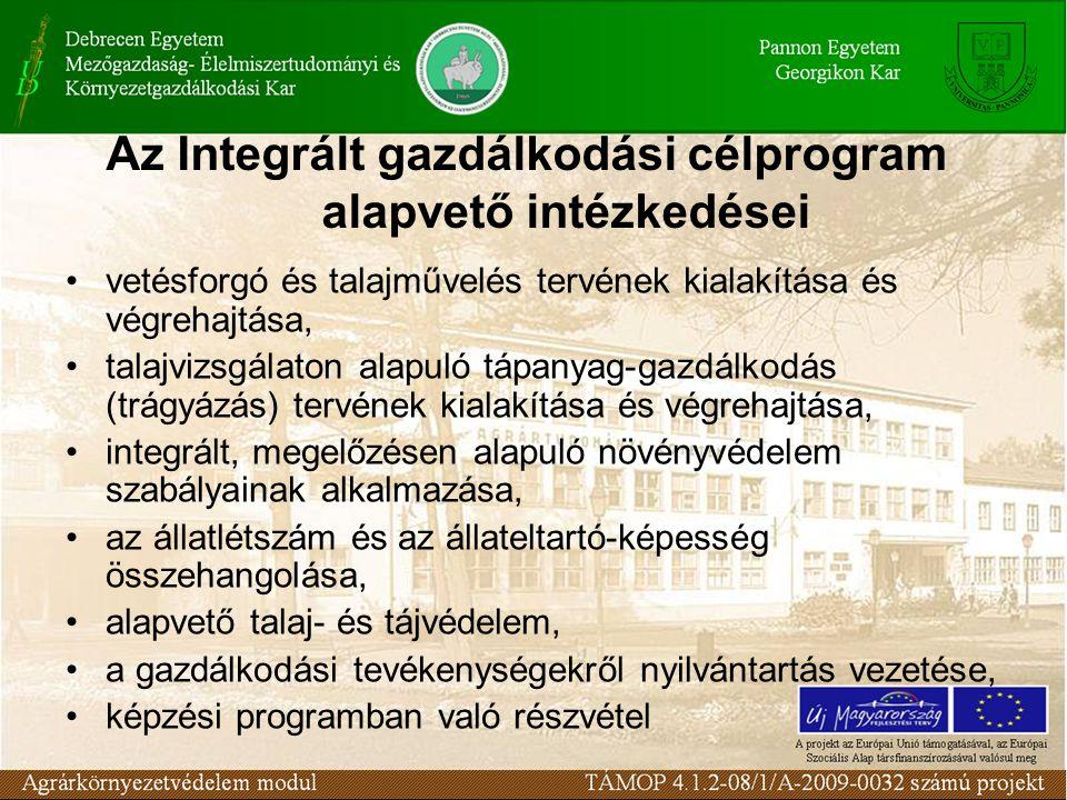 Az Integrált gazdálkodási célprogram alapvető intézkedései vetésforgó és talajművelés tervének kialakítása és végrehajtása, talajvizsgálaton alapuló tápanyag-gazdálkodás (trágyázás) tervének kialakítása és végrehajtása, integrált, megelőzésen alapuló növényvédelem szabályainak alkalmazása, az állatlétszám és az állateltartó-képesség összehangolása, alapvető talaj- és tájvédelem, a gazdálkodási tevékenységekről nyilvántartás vezetése, képzési programban való részvétel