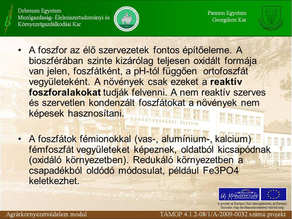A foszfor az élő szervezetek fontos építőeleme. A bioszférában szinte kizárólag teljesen oxidált formája van jelen, foszfátként, a pH-tól függően orto