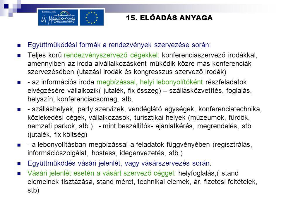 15. ELŐADÁS ANYAGA Együttműködési formák a rendezvények szervezése során: Teljes körű rendezvényszervező cégekkel: konferenciaszervező irodákkal, amen