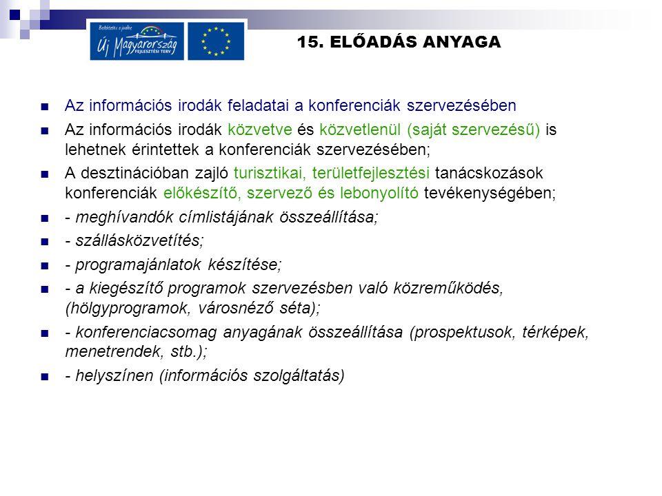 15. ELŐADÁS ANYAGA Az információs irodák feladatai a konferenciák szervezésében Az információs irodák közvetve és közvetlenül (saját szervezésű) is le