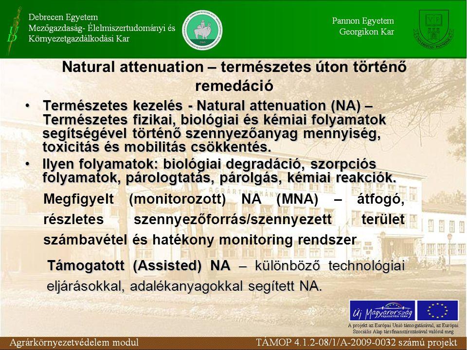Természetes kezelés - Natural attenuation (NA)– Természetes fizikai, biológiai és kémiai folyamatok segítségével történő szennyezőanyag mennyiség, tox