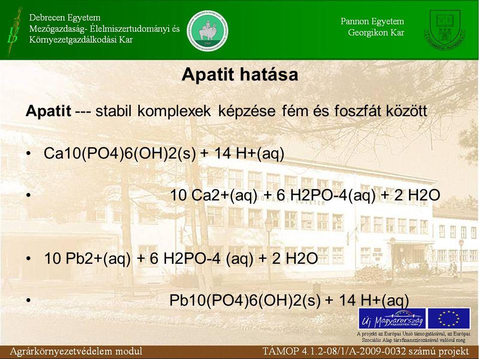 Apatit --- stabil komplexek képzése fém és foszfát között Ca10(PO4)6(OH)2(s) + 14 H+(aq) 10 Ca2+(aq) + 6 H2PO-4(aq) + 2 H2O 10 Pb2+(aq) + 6 H2PO-4 (aq