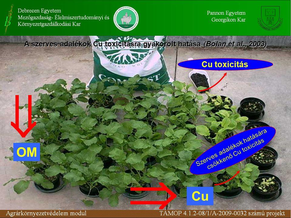 OM Cu A szerves adalékok Cu toxicitásra gyakorolt hatása(Bolan et al., 2003) A szerves adalékok Cu toxicitásra gyakorolt hatása (Bolan et al., 2003) S