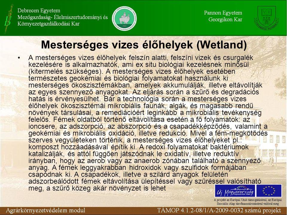 Víz: Párolgás, óldódás, komplexképzés, lebontás, redox folyamatok kicsapódás Növényzet: Ionfelvétel, adszorpció, szervesanyag lebontás, szűrés Bentosz: mikrobiális redoxfolyamatok, ioncsere kicsapódás, kelátképzés, mineralizáció Mesterséges vizes élőhelyek (Wetland)