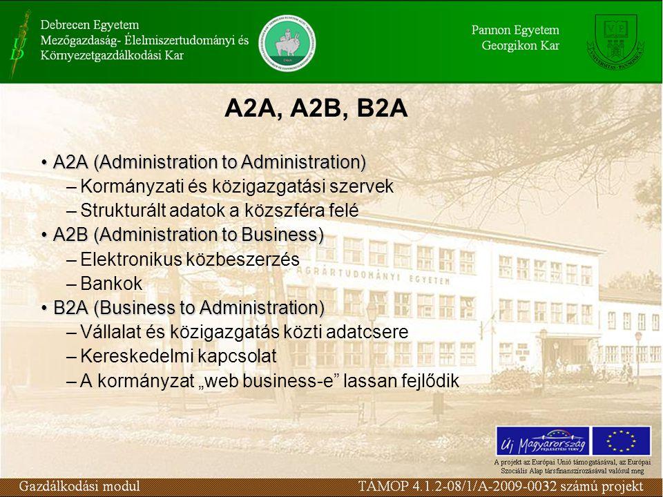 """A2A, A2B, B2A A2A (Administration to Administration)A2A (Administration to Administration) –Kormányzati és közigazgatási szervek –Strukturált adatok a közszféra felé A2B (Administration to Business)A2B (Administration to Business) –Elektronikus közbeszerzés –Bankok B2A (Business to Administration)B2A (Business to Administration) –Vállalat és közigazgatás közti adatcsere –Kereskedelmi kapcsolat –A kormányzat """"web business-e lassan fejlődik"""