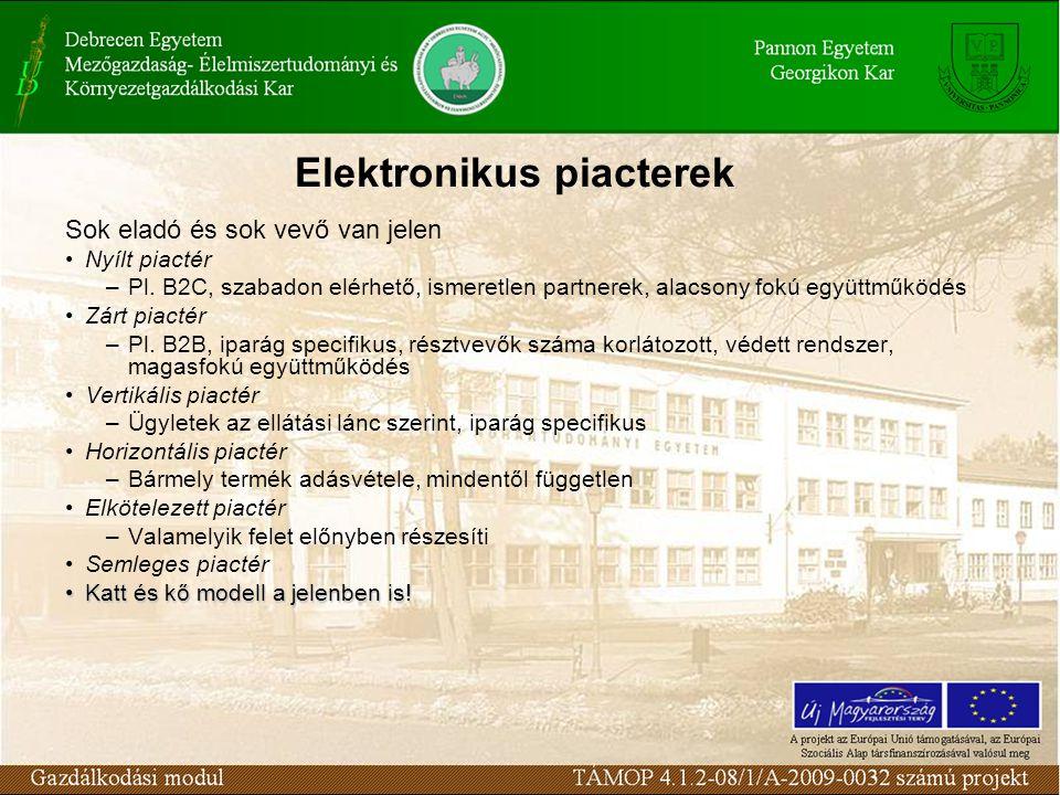Elektronikus piacterek Sok eladó és sok vevő van jelen Nyílt piactér –Pl.