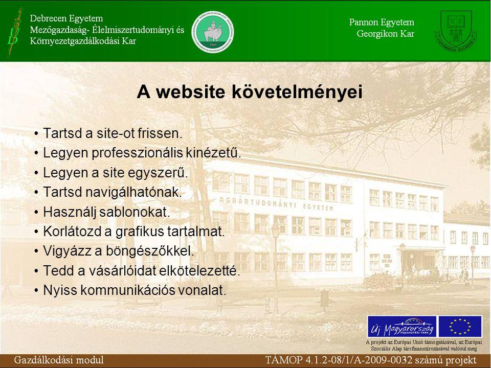 A website követelményei Tartsd a site-ot frissen. Legyen professzionális kinézetű.