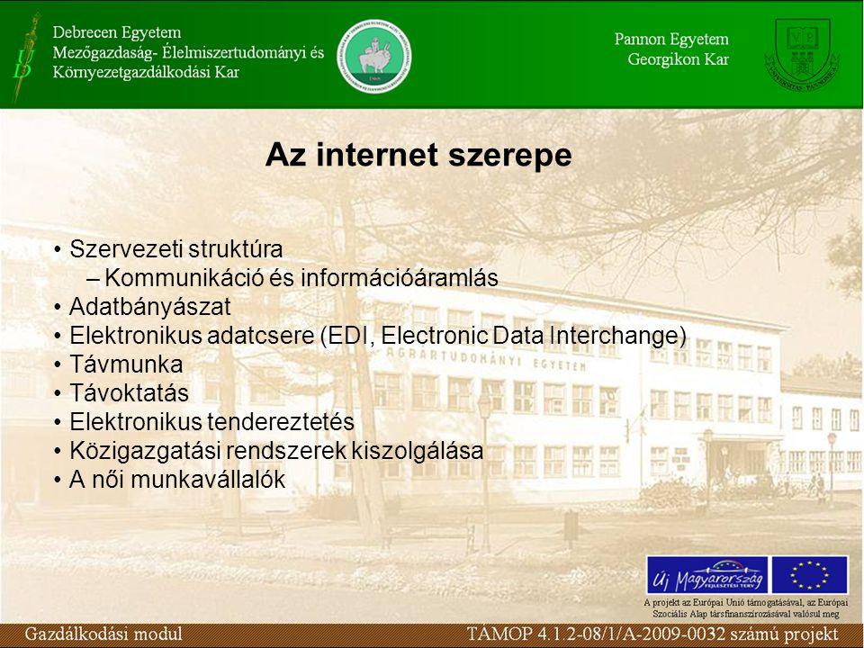 Az internet szerepe Szervezeti struktúra –Kommunikáció és információáramlás Adatbányászat Elektronikus adatcsere (EDI, Electronic Data Interchange) Távmunka Távoktatás Elektronikus tendereztetés Közigazgatási rendszerek kiszolgálása A női munkavállalók