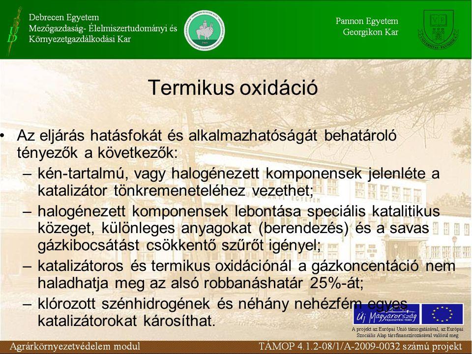 Termikus oxidáció Az eljárás hatásfokát és alkalmazhatóságát behatároló tényezők a következők: –kén-tartalmú, vagy halogénezett komponensek jelenléte
