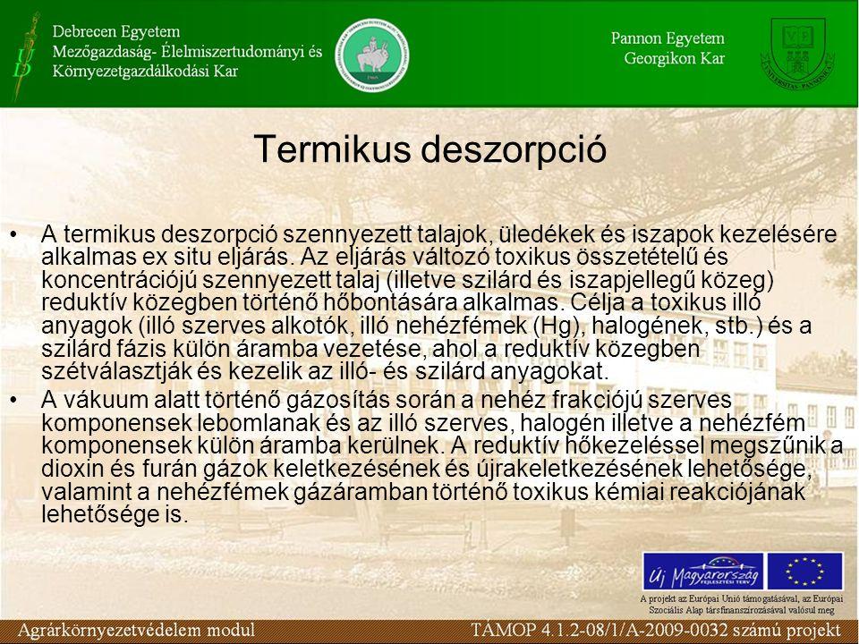 Termikus deszorpció A termikus deszorpció szennyezett talajok, üledékek és iszapok kezelésére alkalmas ex situ eljárás. Az eljárás változó toxikus öss