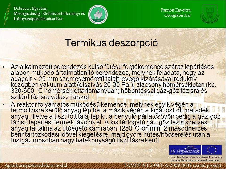 Termikus deszorpció Az alkalmazott berendezés külső fűtésű forgókemence száraz lepárlásos alapon működő ártalmatlanító berendezés, melynek feladata, h