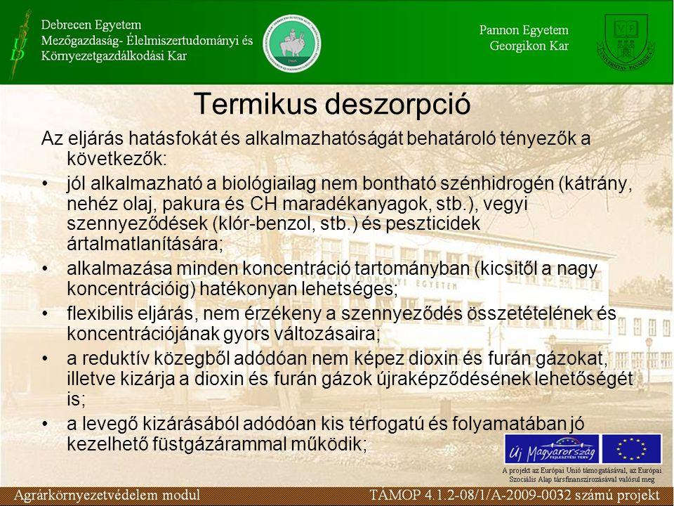 Termikus deszorpció Az eljárás hatásfokát és alkalmazhatóságát behatároló tényezők a következők: jól alkalmazható a biológiailag nem bontható szénhidr