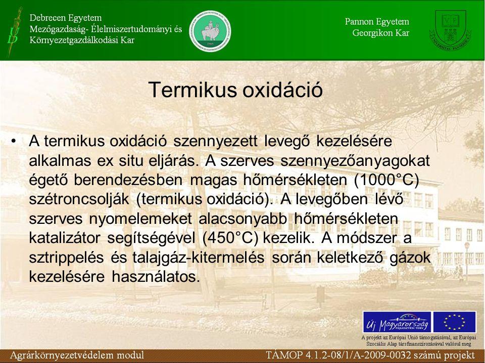 Termikus oxidáció A termikus oxidáció szennyezett levegő kezelésére alkalmas ex situ eljárás. A szerves szennyezőanyagokat égető berendezésben magas h