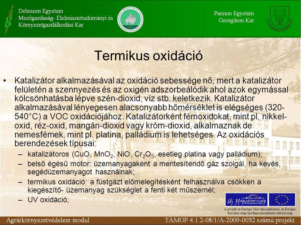 Termikus oxidáció Katalizátor alkalmazásával az oxidáció sebessége nő, mert a katalizátor felületén a szennyezés és az oxigén adszorbeálódik ahol azok