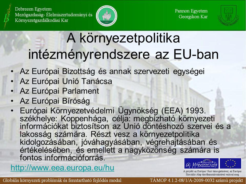 A környezetpolitika intézményrendszere az EU-ban Az Európai Bizottság és annak szervezeti egységei Az Európai Unió Tanácsa Az Európai Parlament Az Eur