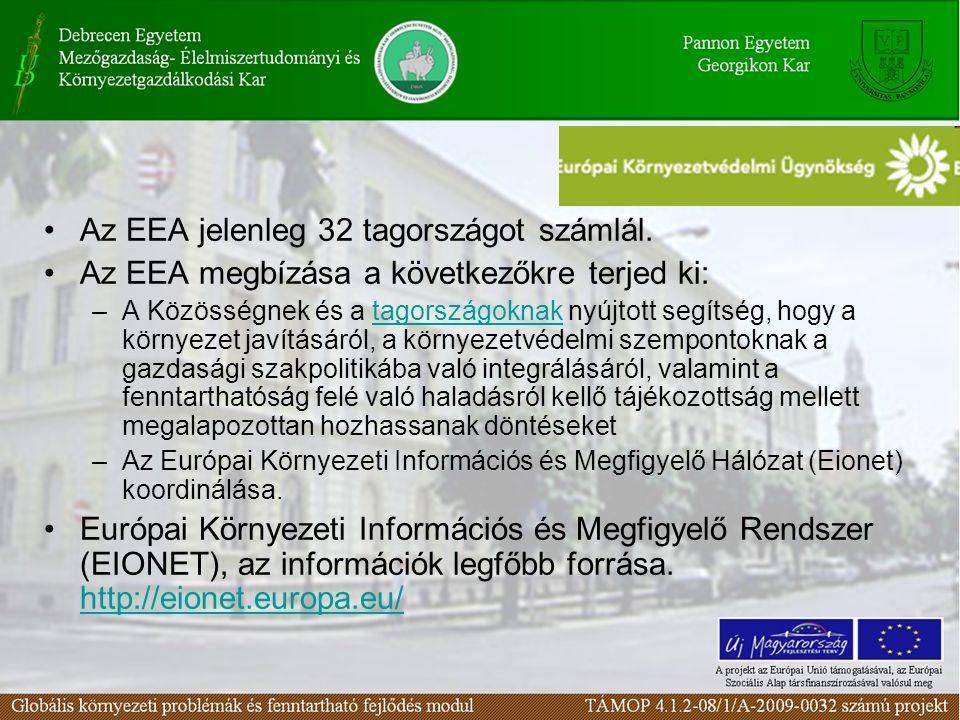 Az EEA jelenleg 32 tagországot számlál. Az EEA megbízása a következőkre terjed ki: –A Közösségnek és a tagországoknak nyújtott segítség, hogy a környe