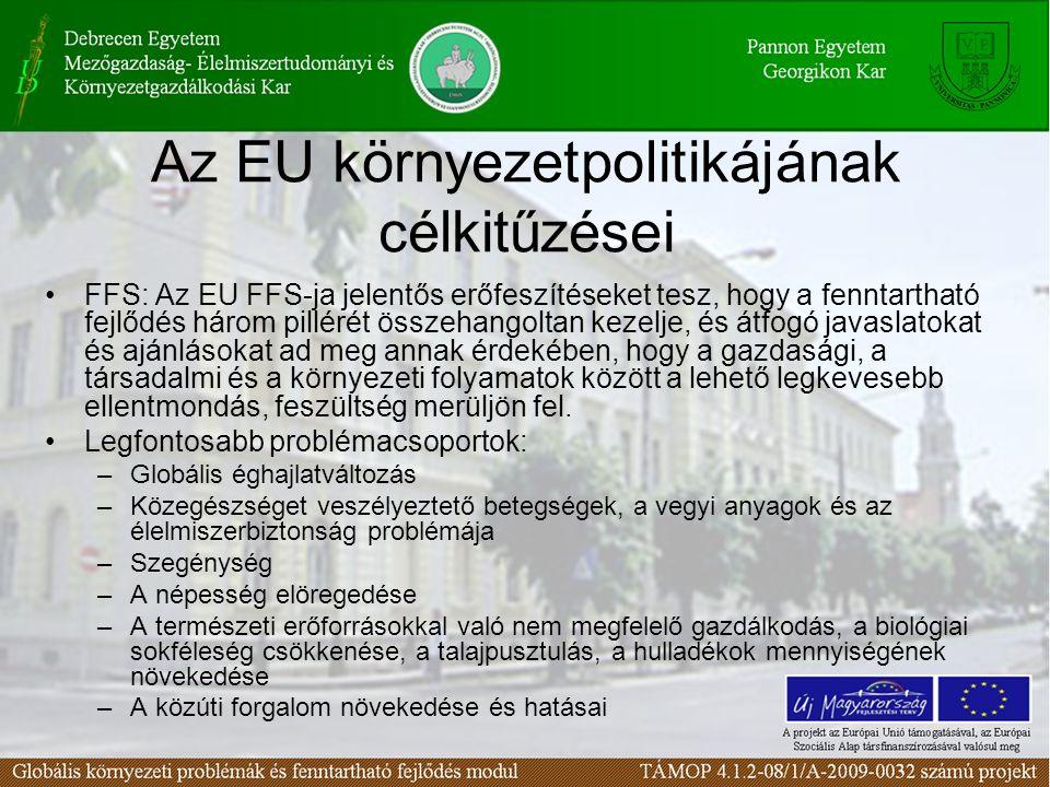 Az EU környezetpolitikájának célkitűzései FFS: Az EU FFS-ja jelentős erőfeszítéseket tesz, hogy a fenntartható fejlődés három pillérét összehangoltan