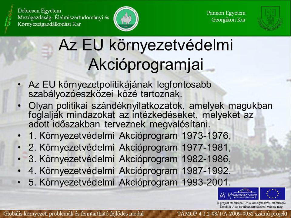 Az EU környezetvédelmi Akcióprogramjai Az EU környezetpolitikájának legfontosabb szabályozóeszközei közé tartoznak. Olyan politikai szándéknyilatkozat