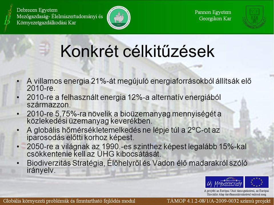 Konkrét célkitűzések A villamos energia 21%-át megújuló energiaforrásokból állítsák elő 2010-re. 2010-re a felhasznált energia 12%-a alternatív energi