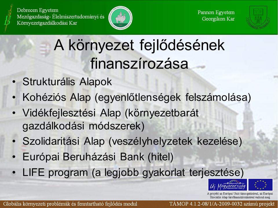 A környezet fejlődésének finanszírozása Strukturális Alapok Kohéziós Alap (egyenlőtlenségek felszámolása) Vidékfejlesztési Alap (környezetbarát gazdál