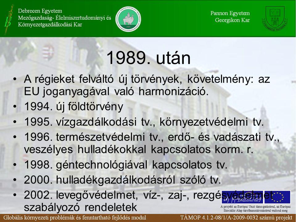 A régieket felváltó új törvények, követelmény: az EU joganyagával való harmonizáció. 1994. új földtörvény 1995. vízgazdálkodási tv., környezetvédelmi