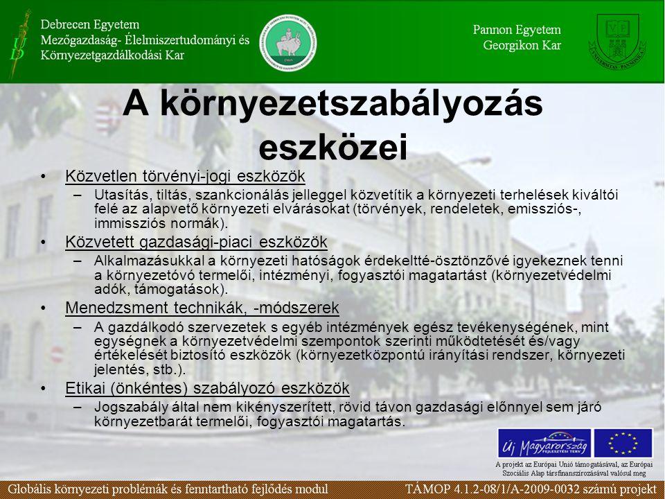 A környezetszabályozás eszközei Közvetlen törvényi-jogi eszközök –Utasítás, tiltás, szankcionálás jelleggel közvetítik a környezeti terhelések kiváltó