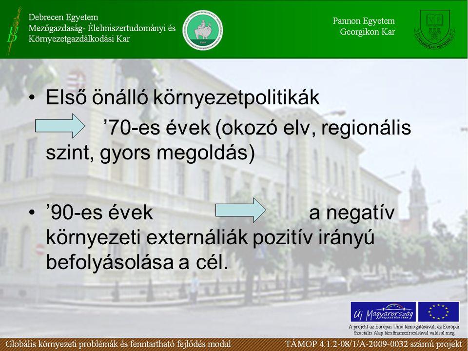 Első önálló környezetpolitikák '70-es évek (okozó elv, regionális szint, gyors megoldás) '90-es éveka negatív környezeti externáliák pozitív irányú be
