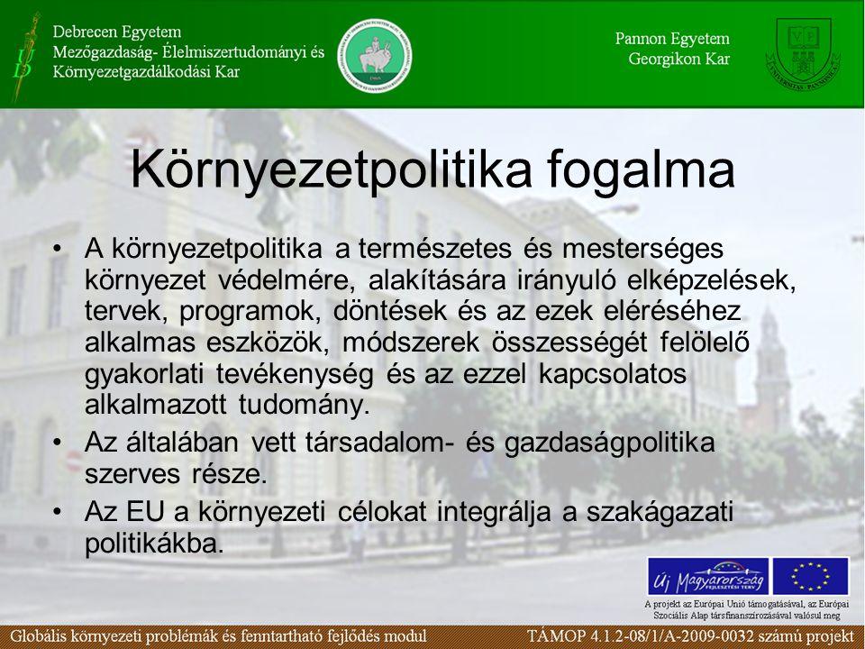 Környezetpolitika fogalma A környezetpolitika a természetes és mesterséges környezet védelmére, alakítására irányuló elképzelések, tervek, programok,