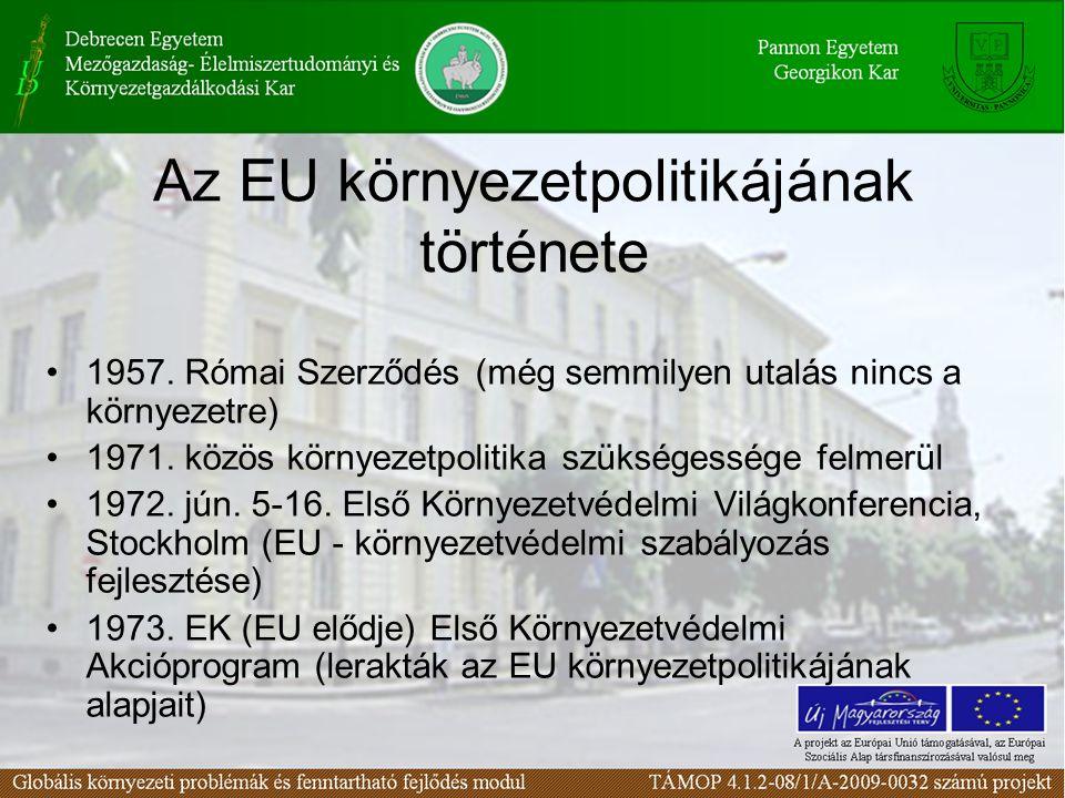 Az EU környezetpolitikájának története 1957. Római Szerződés (még semmilyen utalás nincs a környezetre) 1971. közös környezetpolitika szükségessége fe
