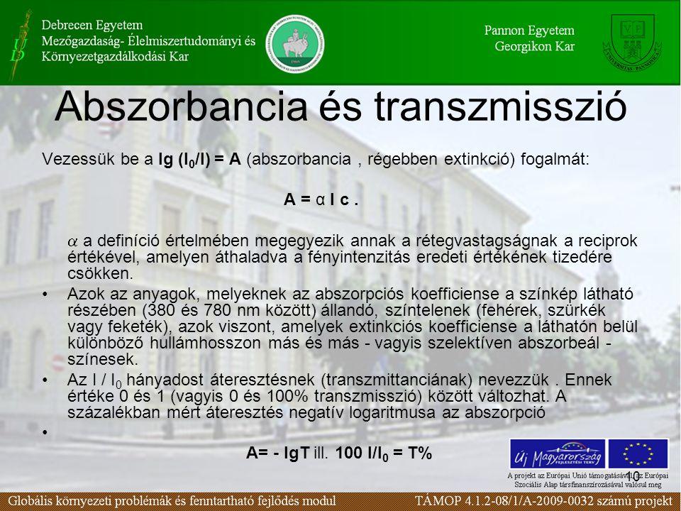 10 Abszorbancia és transzmisszió Vezessük be a lg (I 0 /I) = A (abszorbancia, régebben extinkció) fogalmát: A = α l c.