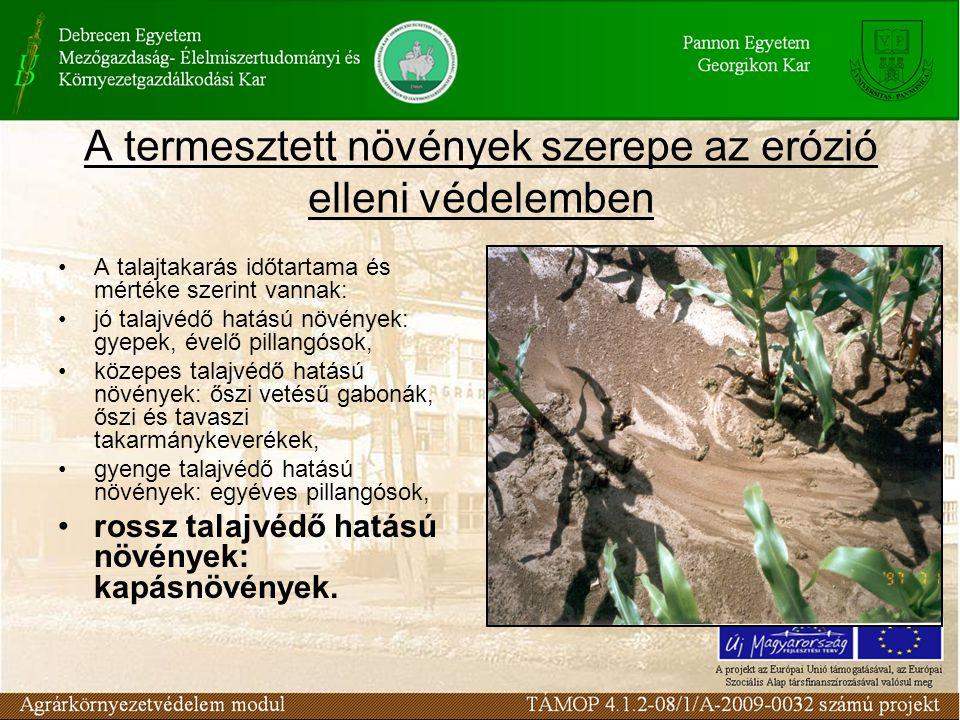 A termesztett növények szerepe az erózió elleni védelemben A talajtakarás időtartama és mértéke szerint vannak: jó talajvédő hatású növények: gyepek, évelő pillangósok, közepes talajvédő hatású növények: őszi vetésű gabonák, őszi és tavaszi takarmánykeverékek, gyenge talajvédő hatású növények: egyéves pillangósok, rossz talajvédő hatású növények: kapásnövények.