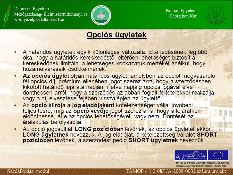 Opciós ügyletek A határidős ügyletek egyik különleges változata.