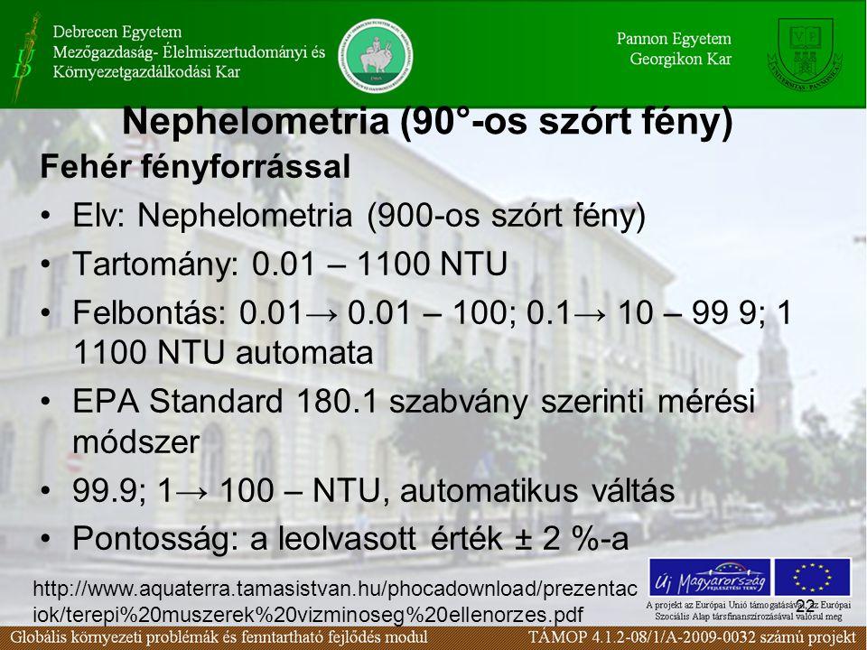 22 Nephelometria (90°-os szórt fény) Fehér fényforrással Elv: Nephelometria (900-os szórt fény) Tartomány: 0.01 – 1100 NTU Felbontás: 0.01→ 0.01 – 100; 0.1→ 10 – 99 9; 1 1100 NTU automata EPA Standard 180.1 szabvány szerinti mérési módszer 99.9; 1→ 100 – NTU, automatikus váltás Pontosság: a leolvasott érték ± 2 %-a http://www.aquaterra.tamasistvan.hu/phocadownload/prezentac iok/terepi%20muszerek%20vizminoseg%20ellenorzes.pdf