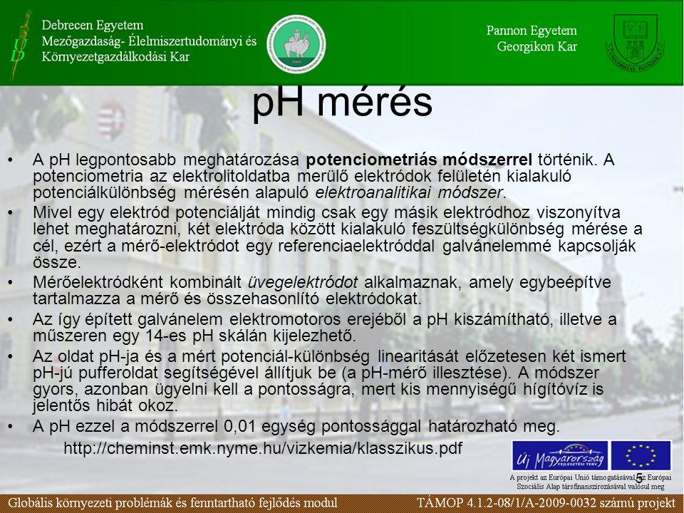 5 pH mérés A pH legpontosabb meghatározása potenciometriás módszerrel történik.