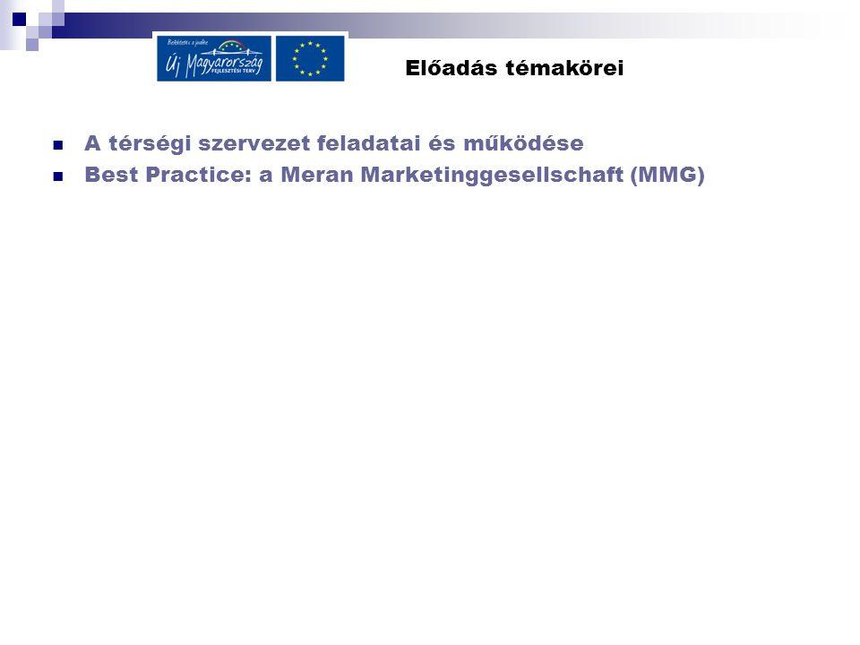 Előadás témakörei A térségi szervezet feladatai és működése Best Practice: a Meran Marketinggesellschaft (MMG)