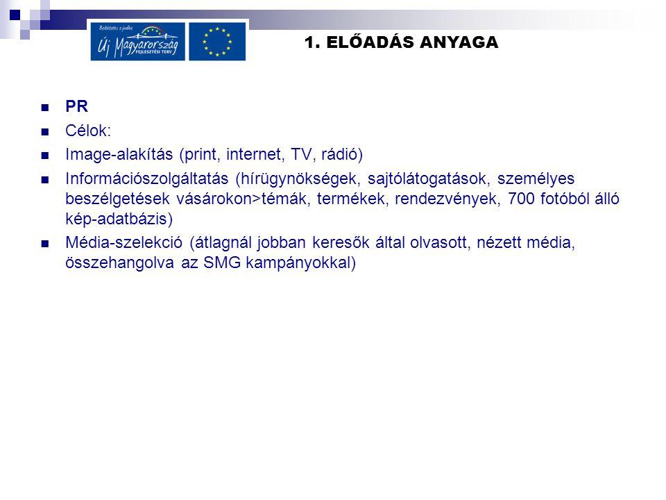 1. ELŐADÁS ANYAGA PR Célok: Image-alakítás (print, internet, TV, rádió) Információszolgáltatás (hírügynökségek, sajtólátogatások, személyes beszélgeté
